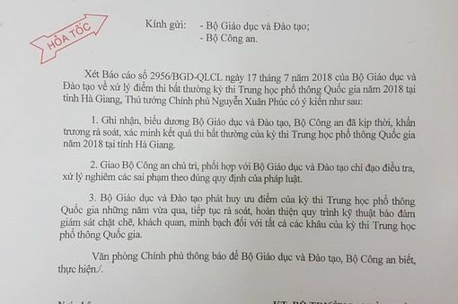 Thủ tướng giao Bộ Công an điều tra, xử lý nghiêm vụ điểm thi bất thường ở Hà Giang
