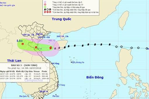 Tối và đêm nay (18/7), bão số 3 ảnh hưởng trực tiếp từ Thái Bình đến Quảng Bình