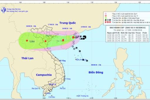 Ngày 16/8, bão số 4 sẽ ảnh hưởng từ Hải Phòng đến Nghệ An