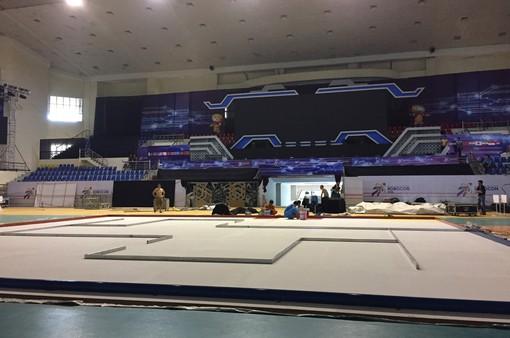 ABU Robocon 2018: Sân thi đấu và khu tập kết robot đang được gấp rút hoàn thiện