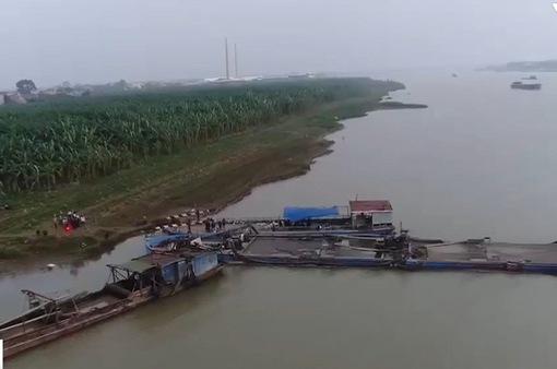 Hưng Yên: Khó quản lý hoạt động khai thác cát trên sông Hồng