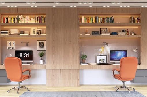 Thiết kế phòng làm việc dành cho hai người ấn tượng