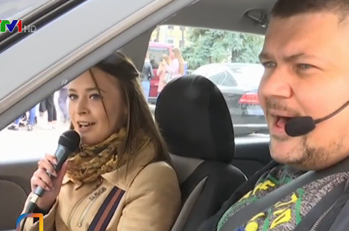 Độc đáo taxi... karaoke ở Ukraine