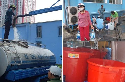 Nhà máy nước Mai Dịch tấp nập người dân, xe bồn đến lấy nước sạch miễn phí