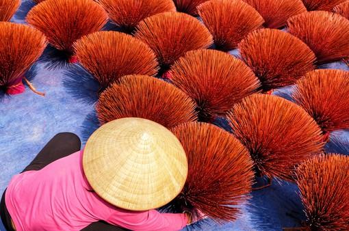 """Về làng tăm hương Quảng Phú Cầu ngắm những """"đóa hoa"""" đỏ rực dưới nắng thu"""