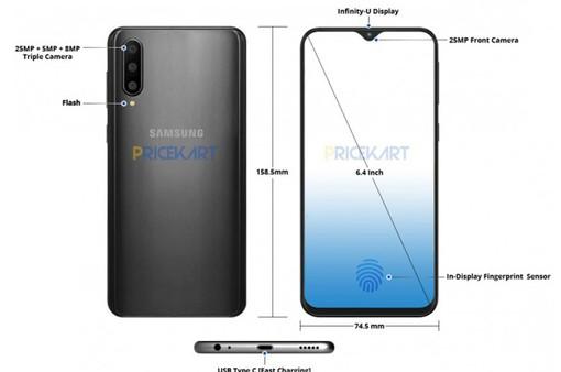 Lộ diện hình ảnh Samsung Galaxy A50 với màn hình mới, vân tay trong màn hình