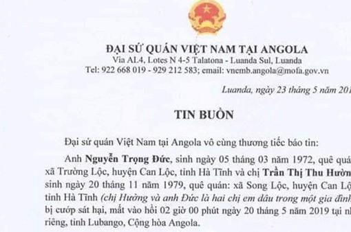 Hai lao động Việt Nam bị cướp sát hại tại Angola