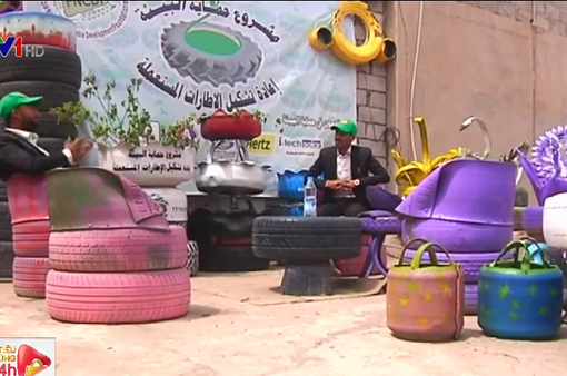 Tái chế lốp xe cũ thành nghệ thuật tại Yemen