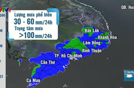 Cảnh báo mưa lớn gây lũ ở Nam Tây Nguyên và Nam Bộ