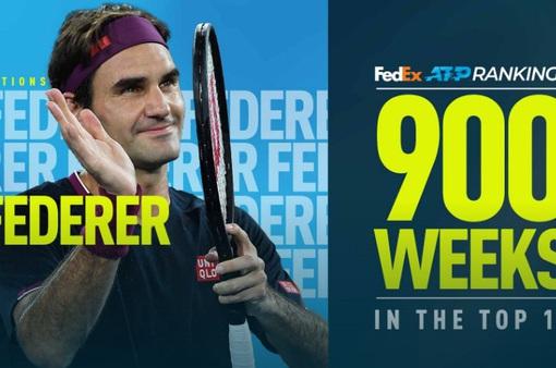 Roger Federer cán mốc 900 tuần góp mặt trong top 10 ATP