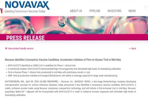 Novavax bắt đầu thử nghiệm vaccine phòng virus SARS-CoV-2 trên người