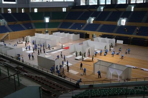 Bệnh viện dã chiến tại Cung thể thao Tiên Sơn hoàn thành phần xây dựng