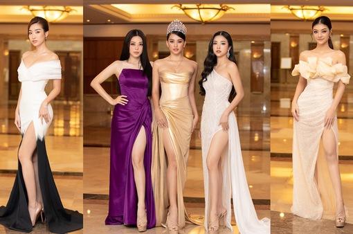 """Dàn Hoa hậu đồng loạt diện váy xẻ cao """"đọ"""" chân dài tại Họp báo Hoa hậu Việt Nam 2020"""