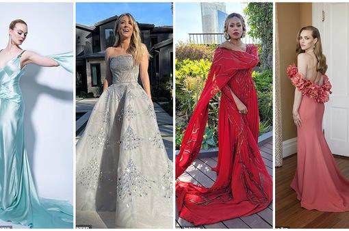 Dàn sao Quả cầu vàng 2021 khoe váy áo tung xòe từ phòng khách, vườn nhà