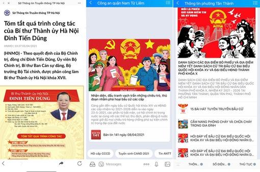 Cập nhật thông tin về bầu cử đại biểu Quốc hội và đại biểu HĐND các cấp qua Zalo