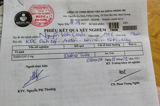 Bình Dương: Lái xe sửa giấy xét nghiệm bị phát hiện mắc COVID-19