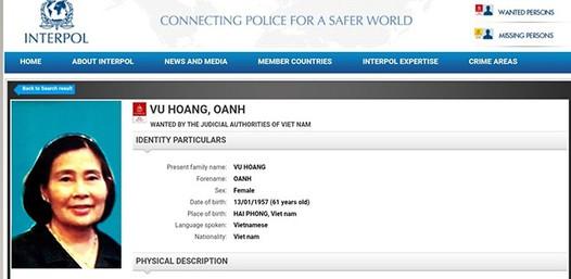 Bộ Công an truy nã quốc tế 'bà trùm' ma túy Vũ Hoàng Oanh