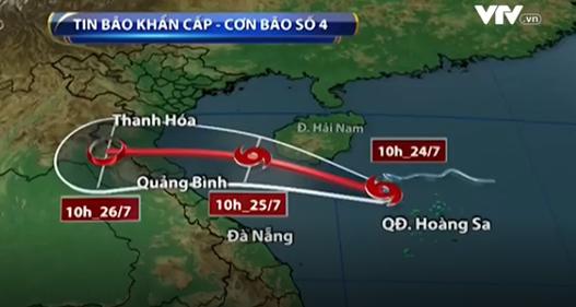 Chiều tối 25/7, bão số 4 khả năng sẽ đi vào đất liền khu vực Bắc miền Trung