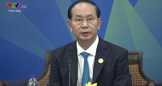 Chủ tịch nước Trần Đại Quang phát biểu tại phiên Đối thoại giữa các nhà lãnh đạo kinh tế APEC với Hội đồng tư vấn kinh doanh APEC