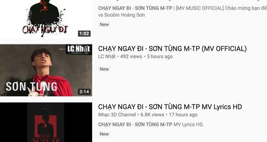 Sức hút của Sơn Tùng M-TP: Chưa ra MV chính thức nhưng đã ngập tràn hàng nghìn MV giả mạo