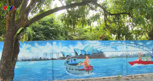 """Mê mẩn trước vẻ đẹp """"làng bích họa Việt - Australia"""" dưới chân cầu Cao Lãnh"""