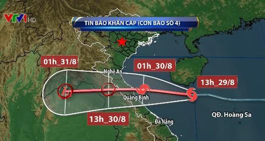 Bão số 4 đi nhanh về phía đất liền Nghệ An tới Quảng Bình