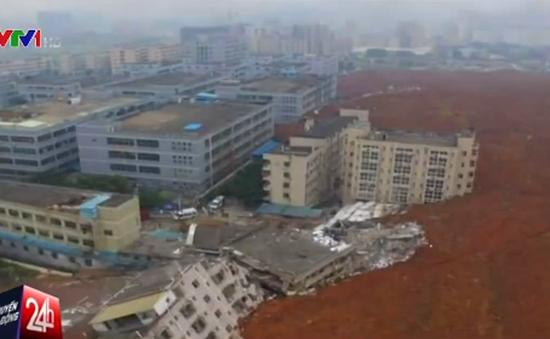 Lở đất kinh hoàng ở Trung Quốc, hàng chục ngôi nhà bị chôn vùi