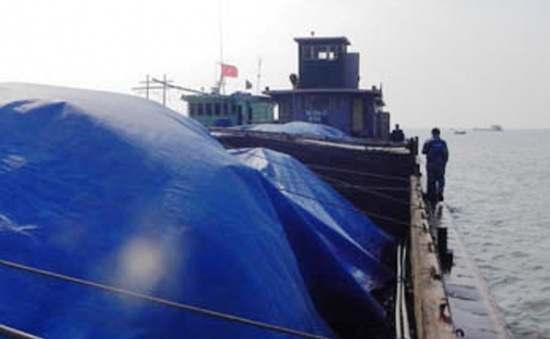 Bắt giữ 700 tấn than vận chuyển trái phép trên biển
