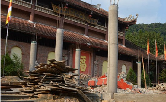 Ngừng thi công công trình không phép tại Khu di tích Yên Tử