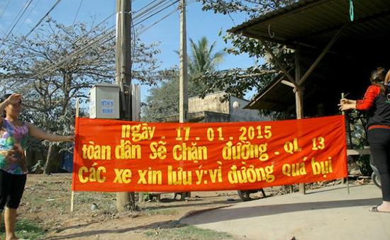 Bình Phước: Phản đối thi công Quốc lộ 13, người dân chặn đường giao thông