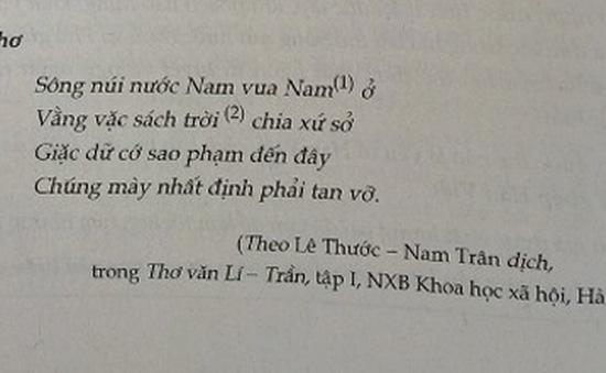Tranh cãi về bản dịch mới bài thơ 'Nam quốc sơn hà'