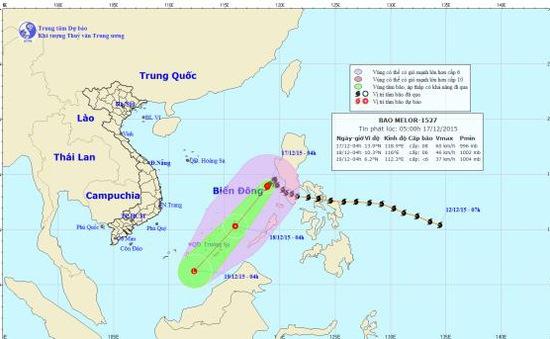 Trong 24 giờ tới, bão số 5 có khả năng đổi hướng di chuyển theo hướng Tây Nam