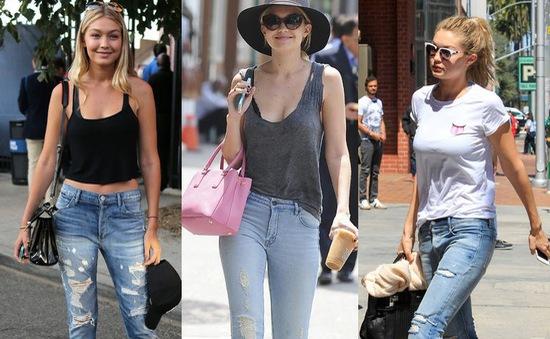 Siêu mẫu Gigi Hadid cá tính với quần jeans