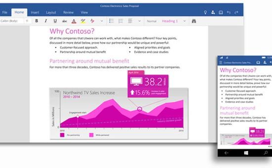 Windows 10 TP for Phone sẽ có Office vào cuối tháng 4