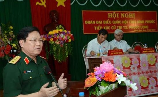 Thượng tướng Ngô Xuân Lịch tiếp xúc cử tri tỉnh Bình Phước