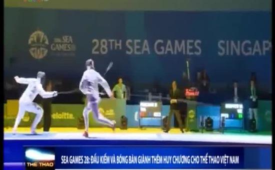 SEA Games 28: Đấu kiếm, bóng bàn giành thêm huy chương