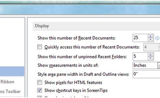 Cách xóa danh sách tài liệu gần đây trong MS Office