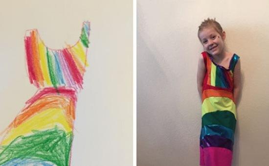 Nhà thiết kế may váy theo bản vẽ của các con mình
