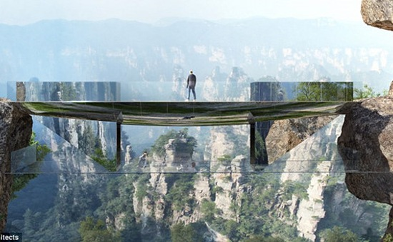 """Cầu """"tàng hình"""" độc nhất vô nhị ở Trương Gia Giới, Trung Quốc"""