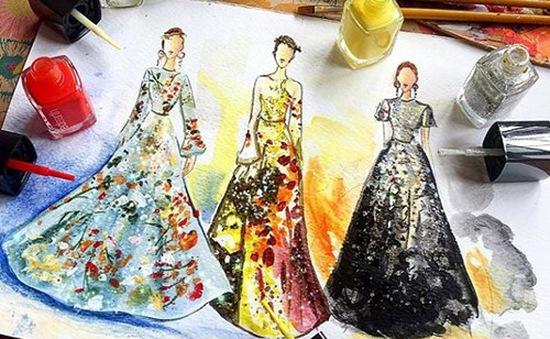 Mê mẩn những thiết kế thời trang long lanh từ sơn móng tay