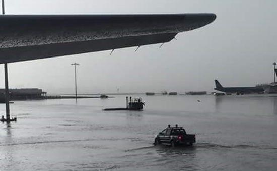 TP.HCM: Sân bay Tân Sơn Nhất thành biển nước sau trận mưa lớn