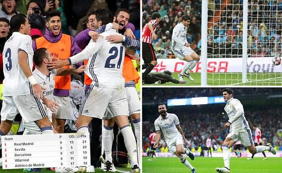 VIDEO, Real Madrid 2-1 Athletic Bilbao: Đánh chiếm ngôi đầu