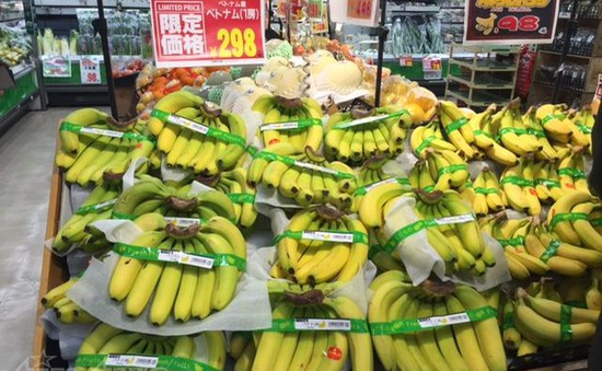 Chuối, dừa Việt Nam xuất hiện trong siêu thị lớn ở Nhật Bản