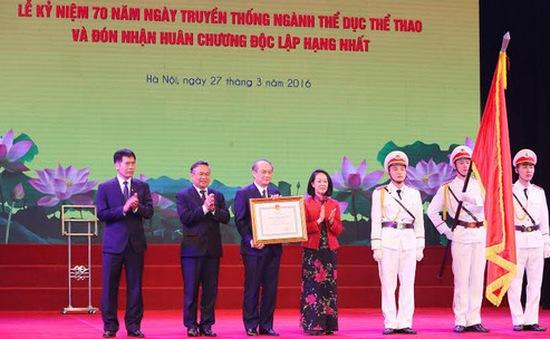 Ngành thể dục thể thao vinh dự đón nhận Huân chương Độc lập Hạng Nhất