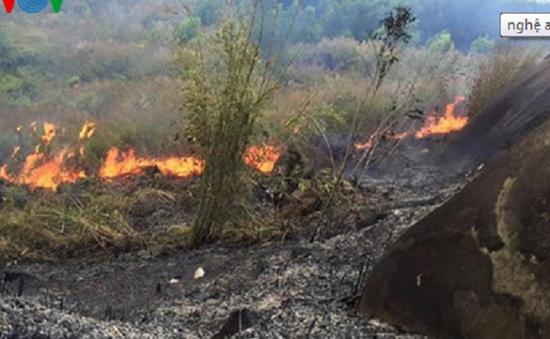 Nghệ An: Nguy cơ lan rộng đám cháy rừng ở Na Ngoi