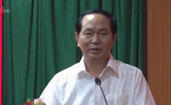 Chủ tịch nước Trần Đại Quang thăm và làm việc tại Cục An ninh mạng