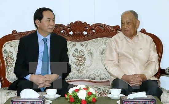 Chủ tịch nước thăm nguyên Chủ tịch Đảng Nhân dân Cách mạng Lào