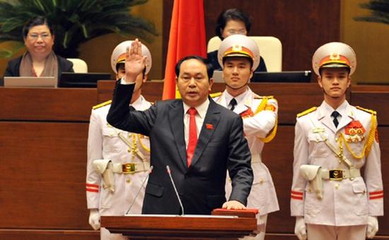 Giây phút tân Chủ tịch nước Trần Đại Quang tuyên thệ nhậm chức