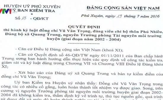 Kỷ luật cán bộ vì để thất lạc sổ đỏ ở Phú Xuyên, Hà Nội