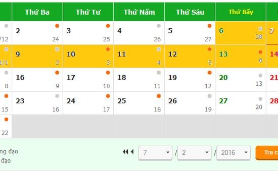 Điểm khác biệt trong lịch nghỉ Tết Bính Thân 2016